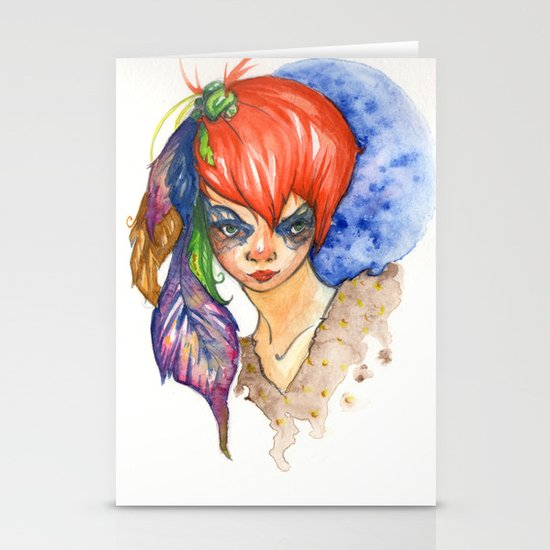 red head and feathers Stationery Cards