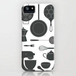 Kitchen Tools (black on white) iPhone Case