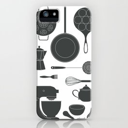Kitchen Tools (black on white) iPhone Case