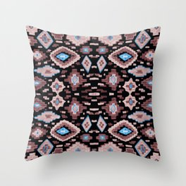 Midnight Pink Aztec Illustration Throw Pillow