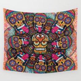Crazy Sugar Skulls Wall Tapestry