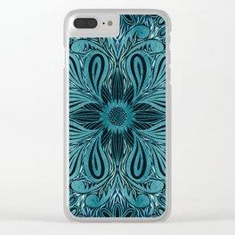 Indigo Blue Flower Mandala Clear iPhone Case