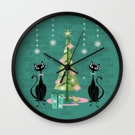 Vintage Kitty Christmas  Wall Clock