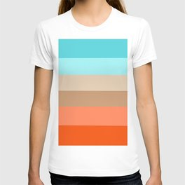 Modern orange aqua sand color block stripes T-shirt