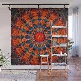 Tangerine Orange Mandala Design Wall Mural