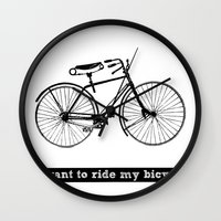 bicycle Wall Clocks featuring bicycle by Beverly LeFevre