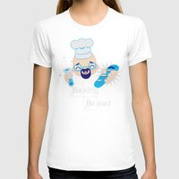 baking T-shirts featuring Baking Bread Kawaii by DarkChoocoolat