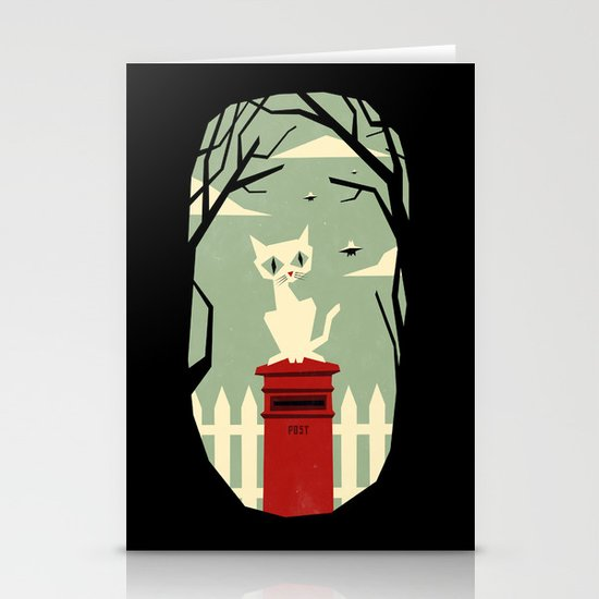 Let's meet at the red post box Stationery Cards