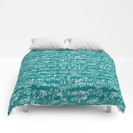 Hand Written Sheet Music // Teal Comforters