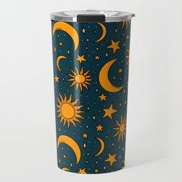 Vintage Sun and Star Print in Navy Travel Mug