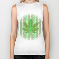 marijuana Biker Tanks featuring Marijuana Leaf by Trusty Russ Tees