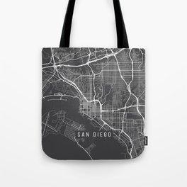 San Diego Map, California USA - Charcoal Portrait Tote Bag
