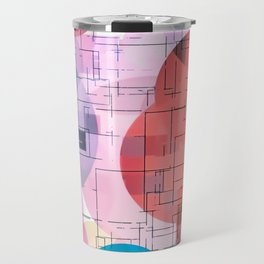 geometric square and circle pattern abstract in red pink blue Travel Mug