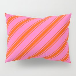 Hot Pink and Red Colored Striped/Lined Pattern Pillow Sham
