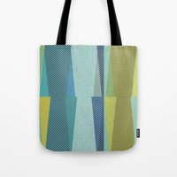 mid century Tote Bags featuring Mid Century Herringbone 1 by David Andrew Sussman