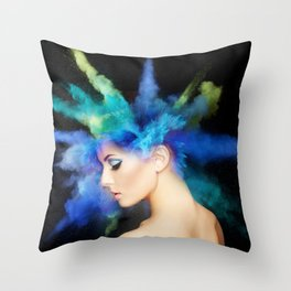Girl and color Throw Pillow