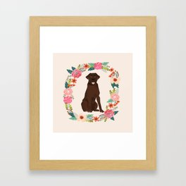 chocolate lab floral wreath flowers dog breed gifts labrador retriever Framed Art Print