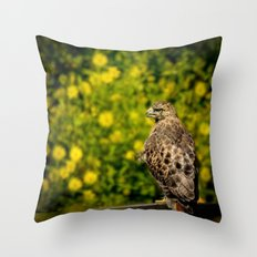 Hawk in sunflowers Throw Pillow