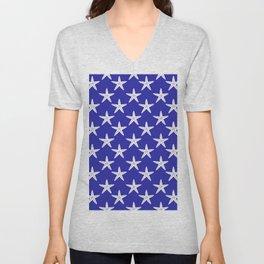 Starfishes (White & Navy Blue Pattern) Unisex V-Neck