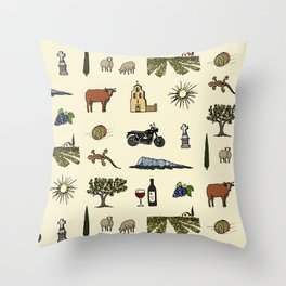 South of France pattern Throw Pillow