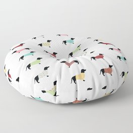 Dachshund Pattern with Sweaters #502 Floor Pillow