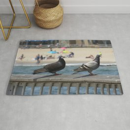 Pigeons at Coney Island Beach Rug