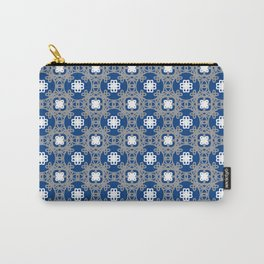 Blue white and grey square floral Carry-All Pouch