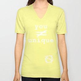you do not equal unique (white) Unisex V-Neck