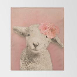 Flower Sheep Girl Portrait, Dusty Flamingo Pink Background Throw Blanket