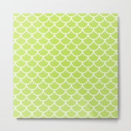 Lime Green fish scales pattern Metal Print