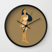 pocahontas Wall Clocks featuring pocahontas by Live It Up