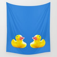 ducks Wall Tapestries featuring Two ducks by GingerFoxGraphics