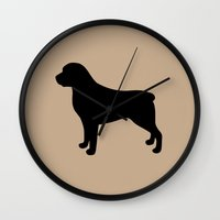 rottweiler Wall Clocks featuring Rottweiler by Erin Rea