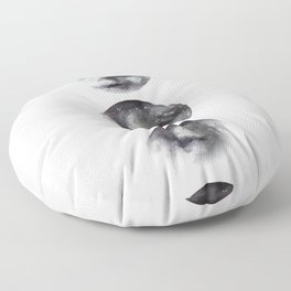 Moon phases watercolor painting Floor Pillow