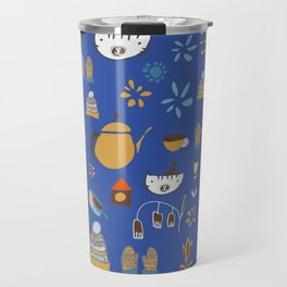 hygge cat and bird blue Travel Mug