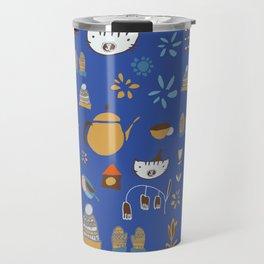 hygge cat and bird blue Travel Mug