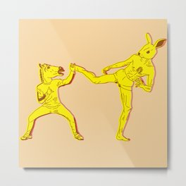 Horse-Dude versus Kick-Bunny Metal Print