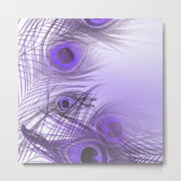 Modern purple lilac abstract peacock feathers gradient Metal Print