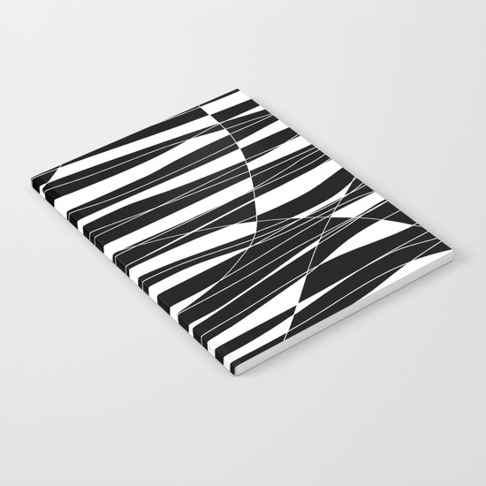 Carved Black and White Wave Notebook