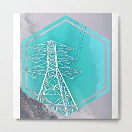 Powerlines in the Mountain Sky Metal Print
