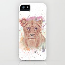 African Lioness Watercolor Digital Painting iPhone Case