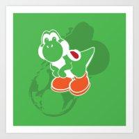yoshi Art Prints featuring Yoshi by Amanda Blauser