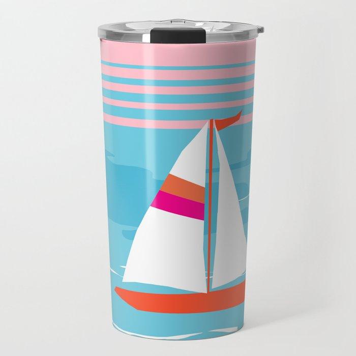 Mellow Out - memphis throwback retro classic neon yacht boating sailboat ocean sea 1980s 80s pop art Travel Mug