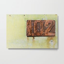 Old entrance door with the number 102 Metal Print