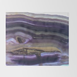Fluorite from Mexico Slab Slice Crystal Purple Throw Blanket