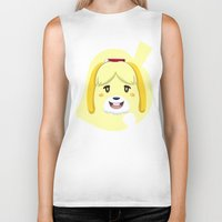 animal crossing Biker Tanks featuring Animal Crossing Isabelle by ZiggyPasta