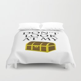 Don't look at my chest Duvet Cover
