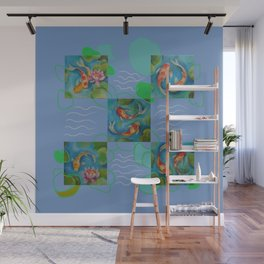 Koi Fish Pop Art collage with original paintings Wall Mural