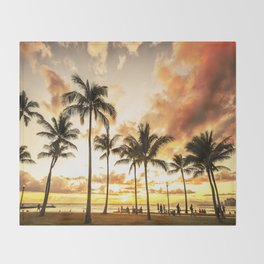 Typical Picturesque Waikiki Beach Sunset Throw Blanket