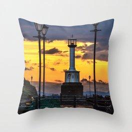 Maryport Lighthouse At Sunset Throw Pillow